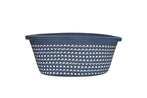 Home Storage Basket, Cotton Rope Basket for Small Dog& Dog Toys, Woven Basket for Living Room, Towel Storage, Book, Clothes, and Snack Storage Basket -Navy Blue M Size-14 inch x 8 1 /4 inch x 10 inch