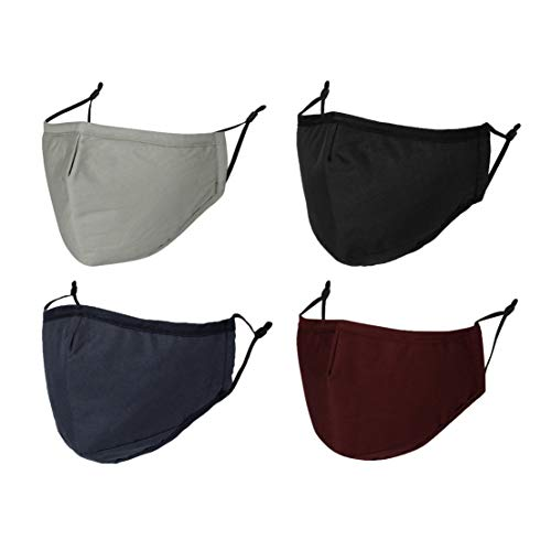 WITHMOONS 4PCS Cloth Face Mask Reusable Washable Masks with Filter Pocket Nose Wire MH93088