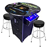Creative Arcades Full-Size Commercial Grade Pub Arcade Machine | 60 Classic Games | 2 Sanwa Joysticks | 2 Stools Included | 3-Year Warranty | Round Glass Top