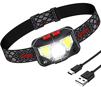 Lampe Frontale, Gritin Torche Frontale LED USB Rechargeable Puissante, Super Lumineux 500 LM, 8 Modes d'éclairage, Détecteur de Mouvement, Étanche et Léger pour Pêche, Camping, Lecture, Randonnée
