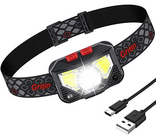 Gritin Linterna Frontal LED Recargable, Linterna Frontal Cabeza USB COB 8 Modos con Sensor y Luz Roja 500 Lúmenes Alto Brillante Ajustable Impermeable para Correr, Acampar, Excursión, Pesca, Ciclismo
