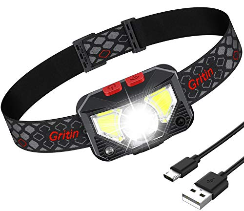 Gritin Lampe Frontale, Torche Frontale LED USB...