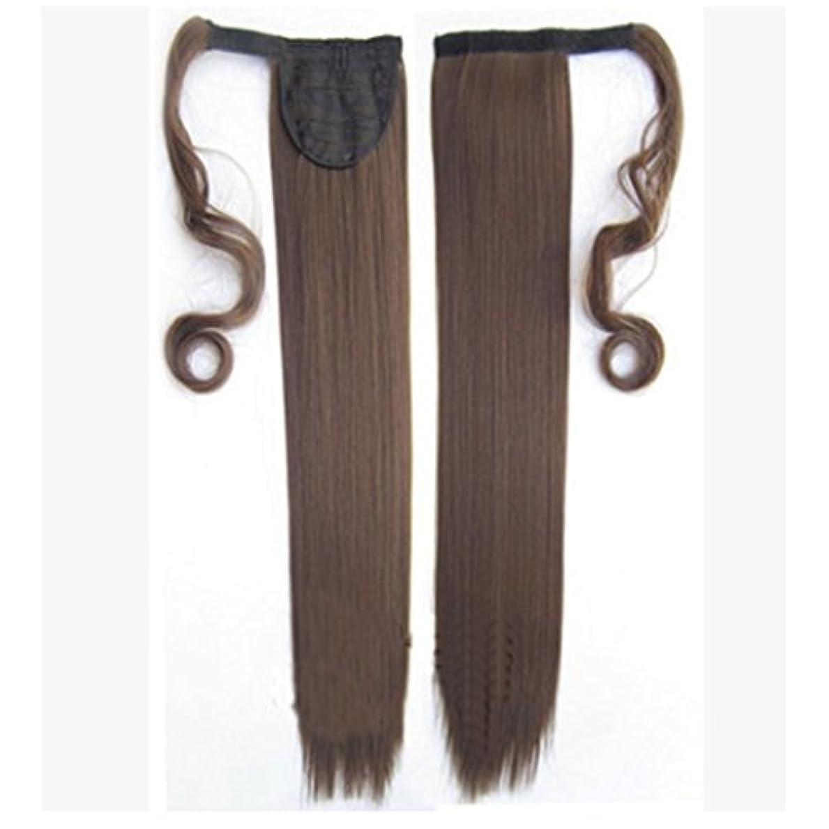ハシーシャツ自動的にDoyvanntgo 人間の髪のポニーテールエクステンションラップ8 * 55センチメートルと100グラムロングストレート人間の髪シルキーソフト(ブラック、ダークブラウン、ライトブラウン、ゴールド、) (Color : ブラウン)