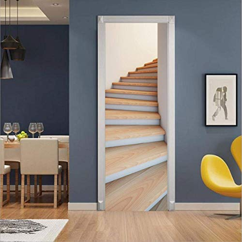 MISSSIXTY 3D Staircase Door Wall Mural Wallpaper Stickers Vinyl Removable Decals for Home Decoration 30.3