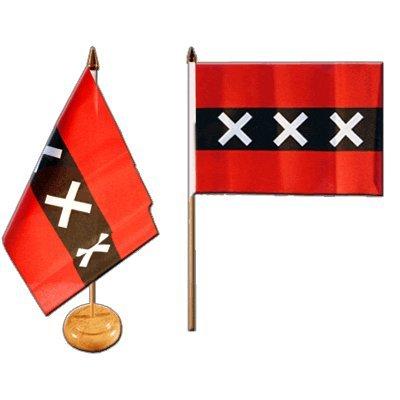 Tischflagge / Tischfahne Niederlande Stadt Amsterdam + gratis Aufkleber, Flaggenfritze®