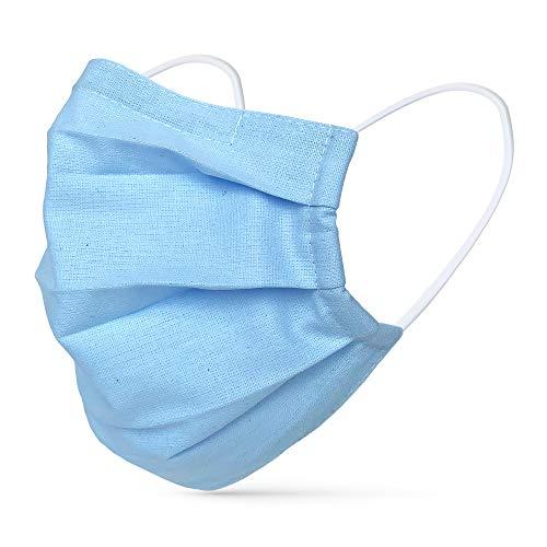 tanzmuster ® Gesichtsmaske für Erwachsene - Stoffmaske mit Nasenbügel und Filtertasche - Alltagsmaske waschbar - 100% Baumwolle OEKO-TEX Standard 100. Hauchdünn 05-Hellblau M/L