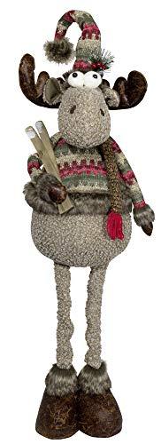 Christmas Paradise Winterlicher Deko Elch mit ausziehbaren Beinen Größe ca.50-80cm Rentier Weihnachtsdeko