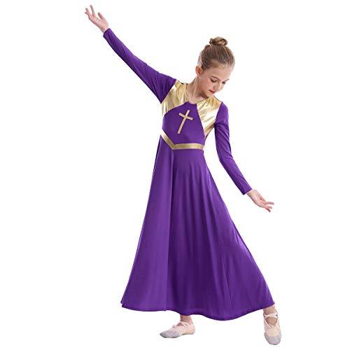 Girls Metallic Cross Liturgical Praise Dance Dress Loose Fit Full Length Worship Costume Lyrical Dancewear for Kids Praise Dance Dresses for Girls Purple + Gold Cross 9-10 Years