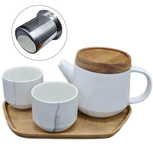 White Marble Ceramic Tea Set, Porcelain Teapot Set with 2 Cups and Wood Tray, 25 oz Tea Pot with Infuser and Wood Lid, Tea Kettle Set with Gift Box for Home and Office