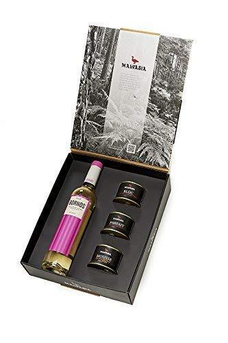 Malvasia, Cesta Gourmet 'Malvasia-Sauvignon': Lote de Tres Foies 130 g y vino Sauvignon Blanc semidulce 50 cl,Palacio de Bornos.