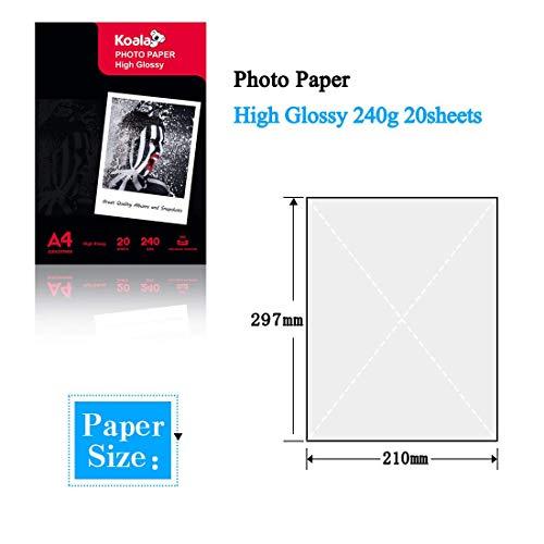 KOALA Papel fotográfico de Brillante, A4, 20 hojas, 240 g/m², para impresora de inyección de tinta Canon HP Epson