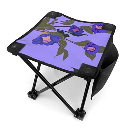 ENEVOTX Folding Stool Camp Stool Chair Blue Retronatural Flower Camellia Lightweight Folding Fishing Chair for Camping Fishing Hiking Traveling with Carry Bag