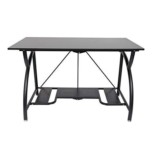 Origami Multi-Purpose fodable Steel frame Table,Sturdy Heavy Duty PC Computer Desk, Fully Assembled Large Craft Desk,Gaming Desk,Storage Space Saving Work Station, Home office,Black