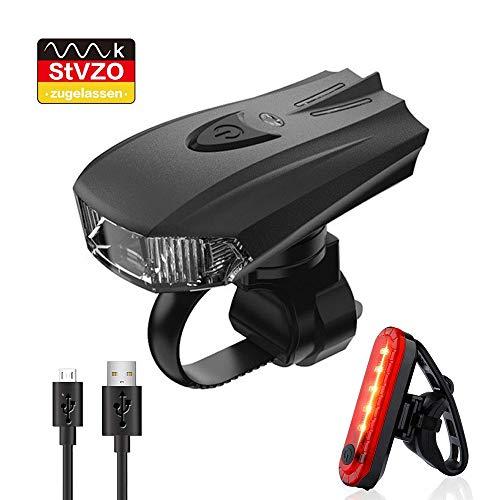 Pezimu Fahrradlicht LED Fahrradbeleuchtung Set - USB Wiederaufladbare Fahrradlichter mit Lichterkennungsmodus - StVZO Zugelassen Wasserdicht Frontlicht Rücklicht Fahrradlampe Set