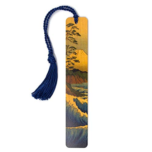 Mount Fuji, Color Wooden Bookmark with Tassel - Also Available Personalized or in a Set