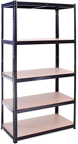 Garage Shelving Units: 70cm (W) x 30cm (D) x 150cm (H) Heavy Duty Racking Shelves for Storage - 1 Bay, Black 5 Tier (175KG Per Shelf), 875KG Capacity for Workshop, Shed, Office