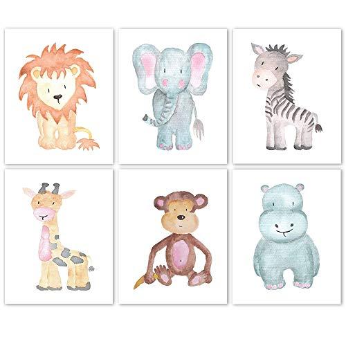 Baby Lion, Elephant, Giraffe, Monkey, Hippo, Zebra Poster Prints, Set of 6 (8x10) Unframed Photos, Wall Art Decor Under 20 for Home, Shop, Nursery, Student, Babies, Teacher, Earth & Safari Animals Fan