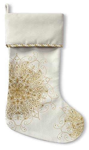 KAVKA Designs All In Gold Christmas Stocking, (White/Gold) - , Size: 12.5x21 - (TELAVC1024CSTC)