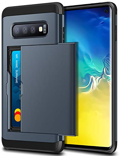 SAMONPOW Case for Galaxy S10 Case Hybrid Dual Layer Protective Shell Galaxy S10 Wallet Case Hard PC Soft TPU Inner Rubber Bumper Credit Card Slot Cover for 2019 Samsung Galaxy S10 6.1 inch Dark Blue