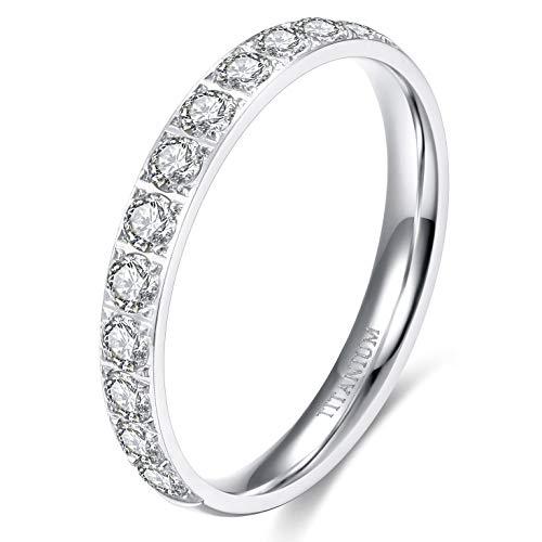 TIGRADE 3mm Womens Titanium Eternity Rings Half Cubic Zirconia Statement Wedding Engagement Band (Silver, 7)