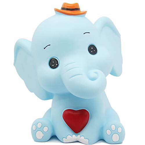 H&W Cartoon Elephant Coin Bank(B), Can Store 900 Coins,Money Box, Piggy Bank, Best Gift Kids, Girls, Blue (WK3-D4)