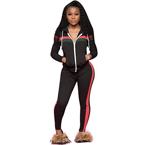 ZJFZML Petite Pullover for Women Ladies Fashion 2020 Long Sleeve Blouse Prime Sweatpants 2 Piece Tracksuit Set Clothing Fashion Designer Tee Shirts Athletic Suit Trendy Outfit Elastic Outwear Black M