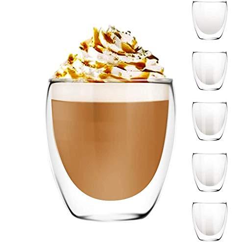 [6-Pack,250 ml/8.5oz]DESIGN•MASTER- Bicchiere Isolante di Alta Qualità a Doppia Parete, Tazze in Vetro per Caffè o Tè, Bicchiere Termoisolante