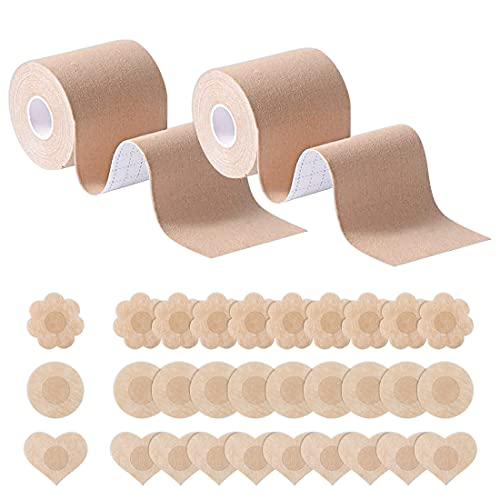HSAJS 2 Rouleau de Poitrine et 15 Paires de Cache-tétons, Boob Tapeet, Soutien Gorge adhesif Breast Lift Tape pour A-E Cup, Ruban de Levage de Poitrine Respirant Bricolage (Caqui)