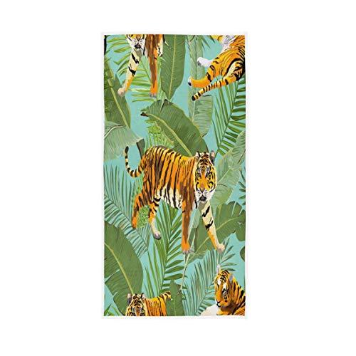 NBHBVGFC Toalla de baño suave con diseño de tigre tropical y hojas de árbol de palmera de verano, para hotel, spa, gimnasio, gimnasio, deportes, 76 x 38 cm