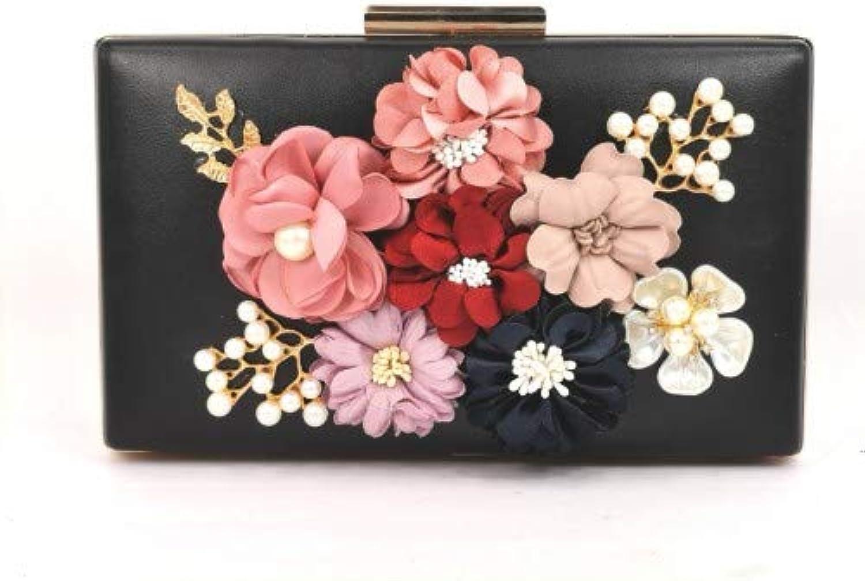 Unbranded Women's Satin Flower Dinner Clutch Pearl Evening Hand Bag