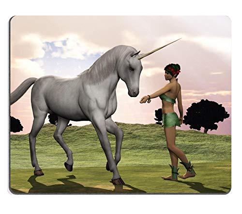 WH-CLA Mousepad : Elfo del Bosque con Un Disfraz De Hojas Le Ofrece Al Unicornio Un Regalo Durable De 25X30 Cm Teclado De Computadora Computadoras De Escritorio Alfombrilla De Ratn De N