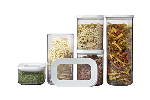 Mepal Vorratsdosen Modula 5-teilig – Starter-Set – ideal für die Aufbewahrung von trockenen Lebensmitteln – spülmaschinenfest, Plastik, Weiß