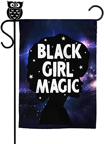 Bandera de jardín de moda negra del mes de la historia de dibujos animados de la casa de la muchacha negra bandera deportiva decorativa patio al aire libre banderas 30 x 45