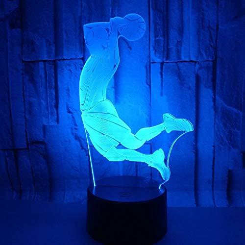 BFMBCHDJ Schießen 3D Nachtlicht Kreative Dekoration Lampe Led Stereo Tischlampe Atmosphäre 3D Tischlampe A4 Weiß riss basis + fernbedienung