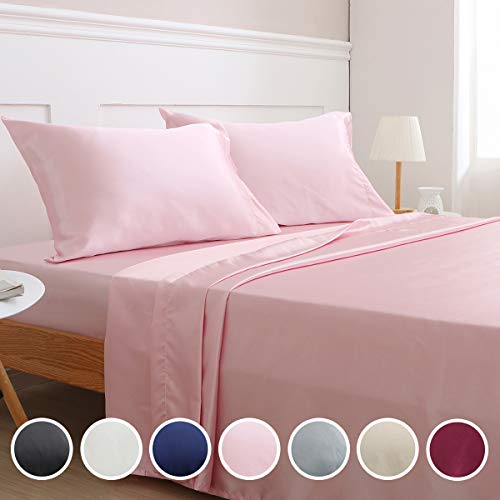 Vonty Satin Sheets Queen Size Silky Soft Satin Bed Sheets Pink Satin Sheet Set, 1 Deep Pocket + Fitted Sheet + Flat Sheet + 2 Pillowcases