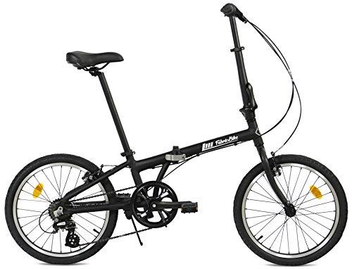 FabricBike Folding Bicicleta Plegable Cuadro Aluminio Ruedas 20' 3 Colores (Matte Black 7 Speed)