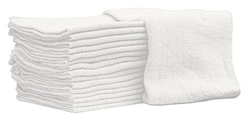 Nabob Wipers Auto-Mechanic Shop towels, Rags by 100% Cotton Commercial Grade Perfect for your Home Garage & Auto Body Shop (12x12) inches, 25 Pack, (White)