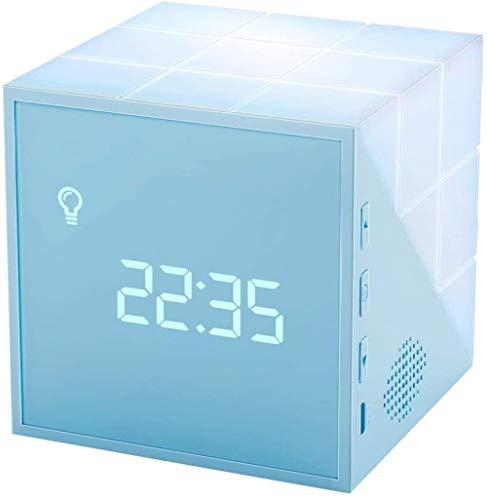 Mesilla Niños Despertador Niños Entrenador De Dormir Función Snooze Forma De Cubo De Rubik, Luz Nocturna De Control por Voz, Cuenta Atrás, Función De Temporización, Niños-Azul