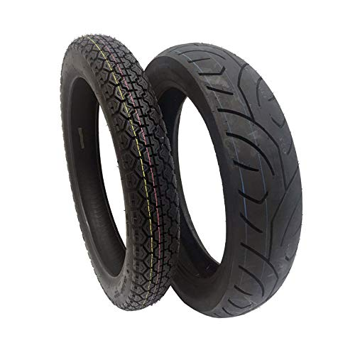 Discover Bargain TIRE SET COMBO: Front Tire 3.50-18 and Rear Tire 130/80-17 for Motorcycles and Larg...