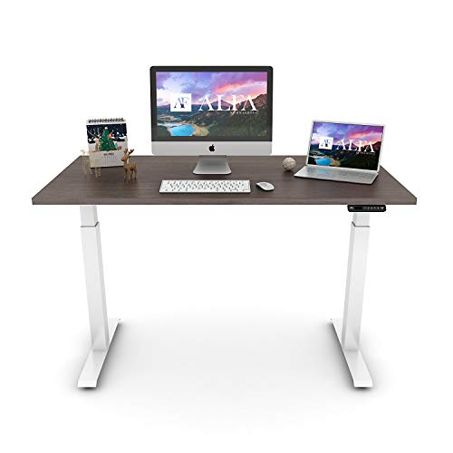 ALFA Furnishing Advanced 48 x 30 Inches Standing Desk for Home Office, Dual Motor Adjustable Height Desk, Sit Stand Desk with 4 Pre-Set Heights, Medium Walnut Table Top+ Cloud White Frame