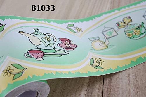 Behang Randen Verwijderbare zelfklevende dikker waterdicht Vinyl Wandbekleding Randen Home Decor Badkamer Keukentegels Decor Sticker 1000 x 10 cm 1000 x 10 cm Groene theepot
