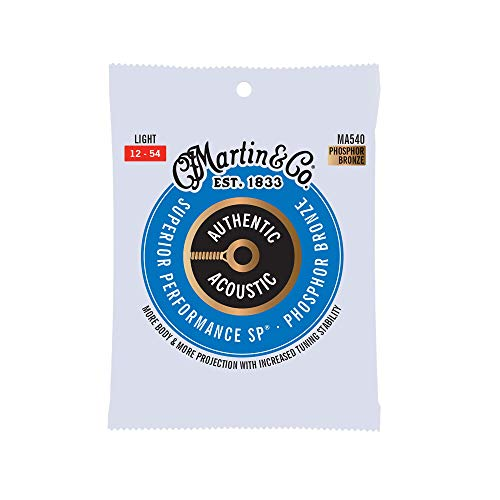Martin Guitar MA540 Authentic Acoustic Light Guitar Strings, 92/8 Phosphor Bronze