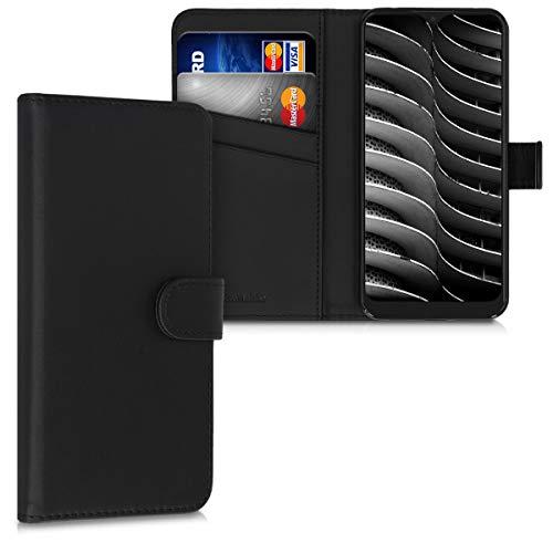 kwmobile Hülle kompatibel mit Alcatel 3L (2020) - Kunstleder Wallet Hülle mit Kartenfächern Stand in Schwarz