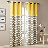 StyleWorth Polyresin Printed Grommet Curtain, 4 X 5 Feet, Yellow, Pack of 1