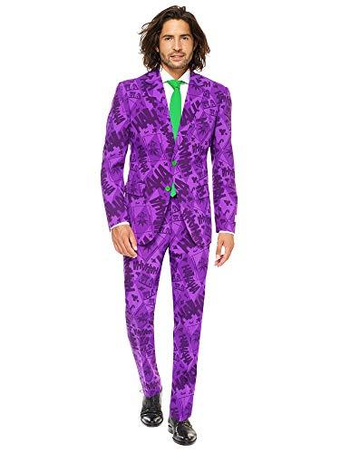 OppoSuits - Costume da Joker da uomo con licenza Supereroe per Halloween, completo con giacca, pantaloni e cravatta Viola 50