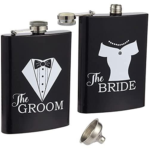 Liquor Flasks – 2-Piece, 8 Oz Bride and Groom Pocket Drinking...