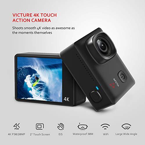 Victure Action Cam 4K 20MP WiFi Touch Screen Ultra Full HD 30 Meters Unterwasserkamera Einstellbare 170°Fischaugen-Linse EIS Sports Kamera 2×1350mAh Ersatzbatterien and Halterungs-Kit - 2