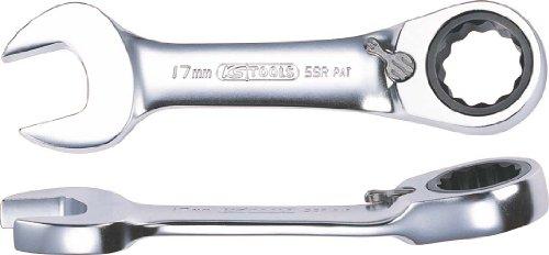 KS TOOLS 503.4638-E Mini clé Mixte à cliquet réversible Chrome Plus 72 Dents 15 mm, sur Support