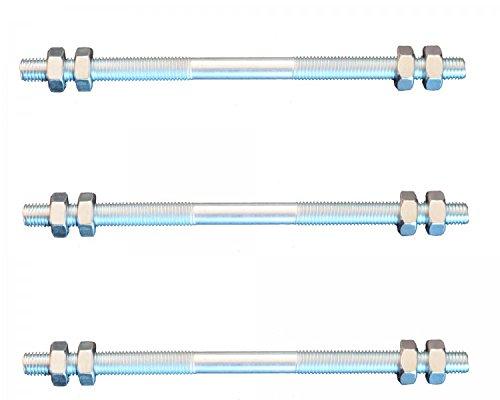 FKAnhängerteile 3 Stück Gewindestange M6 Rechts - Links Gewinde 160 mm + 12 Muttern