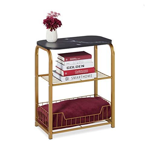 Relaxdays Beistelltisch mit Aufbewahrung, Tischplatte in Marmor-Optik, Metallgestell, HBT: 62 x 50 x 30 cm, schwarz-Gold